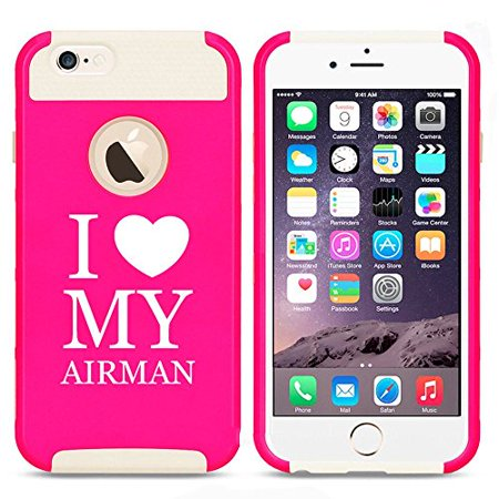 Apple iPhone 5c Shockproof Impact Hard Case Cover I Heart Love My Airman Air Force (Hot Pink-White),MIP