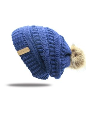 a748e1a9308 Product Image Double Layer Fur Ball Cap Winter Hat for Women Girls Hat  Knitted Beanies Cap Thick Female
