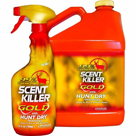 Wildlife Research Center Scent Killer Gold Spray Gallon Combo  24 Fl Oz   1 Gallon Refill Bottle