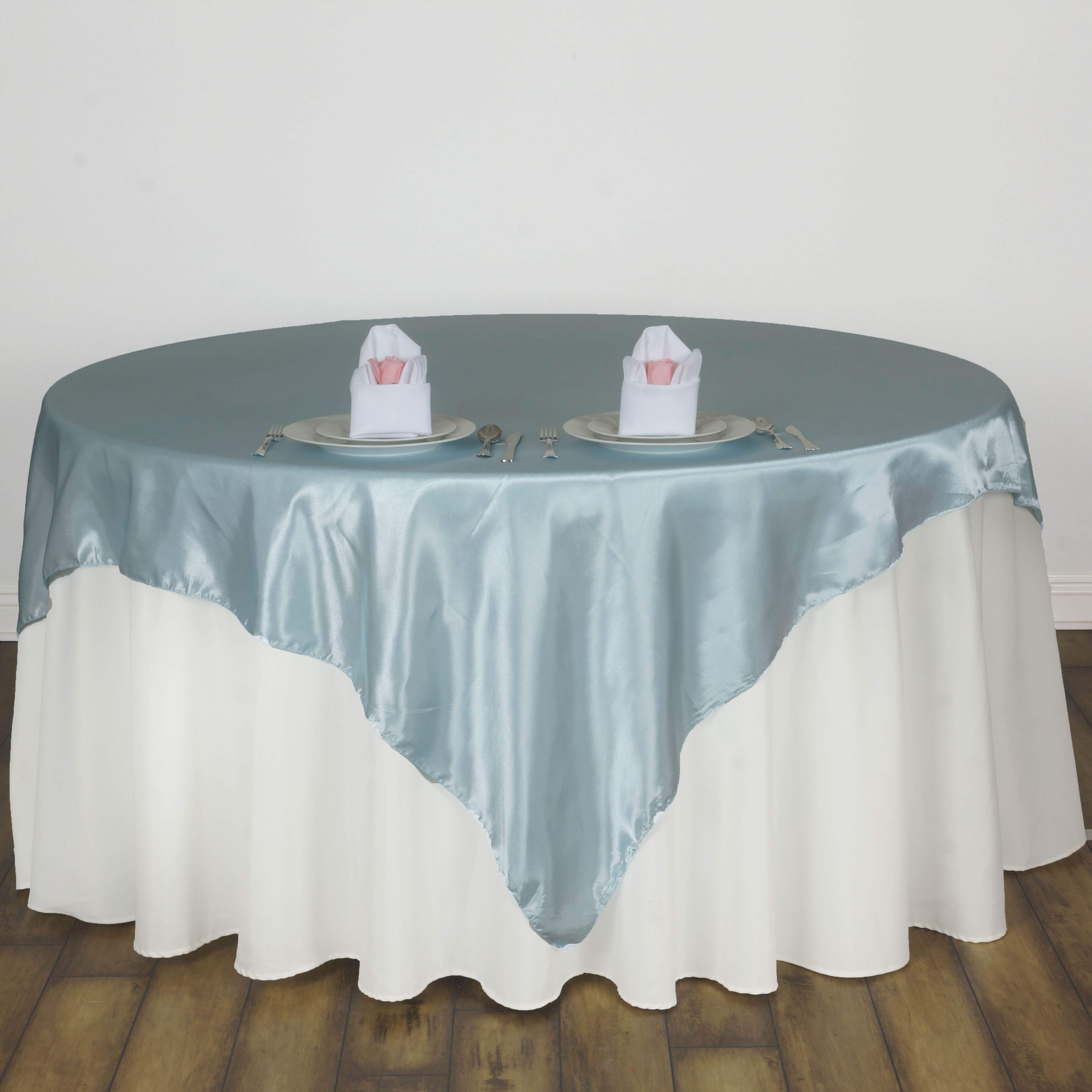 "BalsaCircle 60"" x 60"" Square Satin Table Overlays - Wedding Party Reception Catering Linens Dinner Banquet Event Decorations"