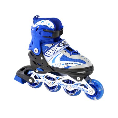 Size 11J-2 Adjustable Kids Light Up Inline Skates (Light Up Roller Skate Necklace)