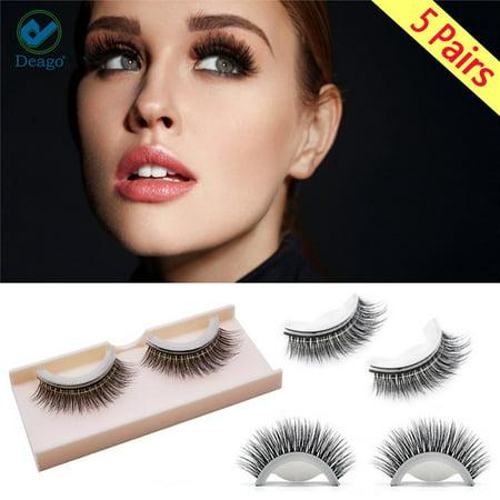 a18c9cc20e3 Deago Self-Adhesive Eyelashes - 3D False Eyelashes Black Eyeliner Strips No  Glue & Reusable