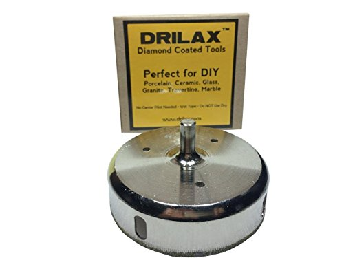 Drilax 3-1 2 inch Diamond Tipped Drill Bit Hole Saw for Ceramic, Porcelain Tiles, Glass,... by DRILAX