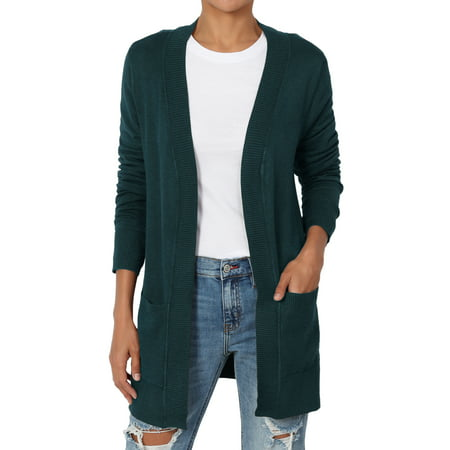 - TheMogan Women's S~3X Boyfriend Relaxed & Pocket Open Front Knit Sweater Cardigan
