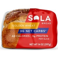 SOLA Golden Wheat Low Carb Sandwich Bread Loaf: Sola Thin Sliced, High Protein Whole Bread Loaf - Healthy Grain Groceries and Light Foods for Low Carb Diets, Modified Keto Plans - 14 Ounces