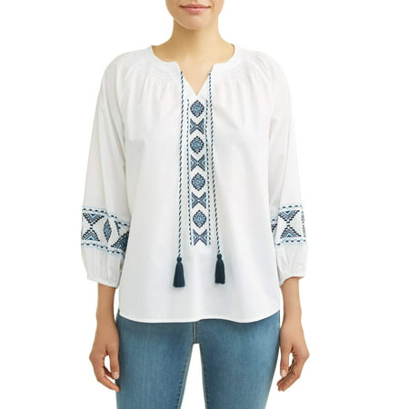 0f284408bf418 Time and Tru - Women s Embroidered Smock Neck Top - Walmart.com