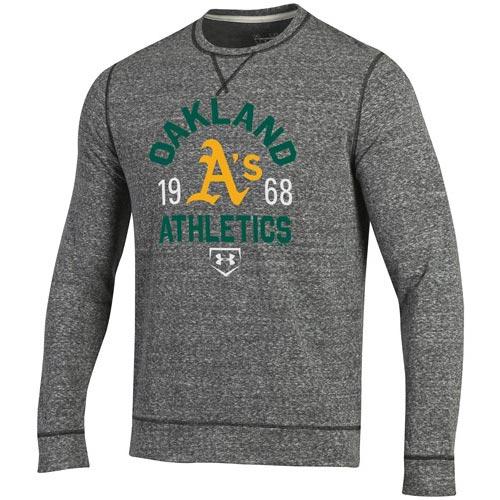 Oakland Athletics Under Armour Legacy Terry Crew Neck Pullover Sweatshirt - Gray