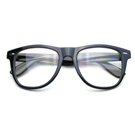 Emblem Eyewear - Nerd Black Glasses Clear Lens Clear Horned Rim Sunglasses