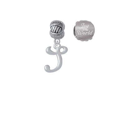 Silvertone Small Gelato Script Initial - S - Joy to the World Charm Beads (Set of 2) ()