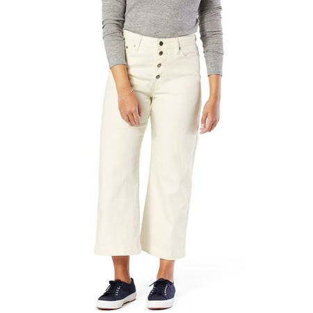Signature by Levi Strauss & Co. Women's High Rise Wide Leg Button Fly Cropped Jeans