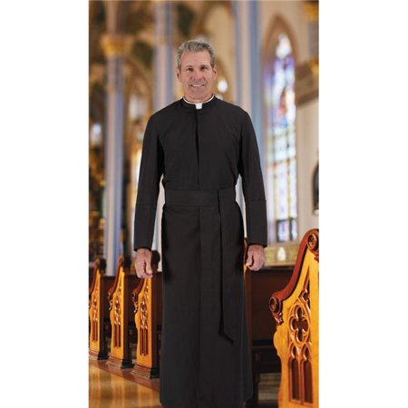 Cbcs 395Blk4215560 Year Rounder Semi Jesuit Cassock With Cincture  44  Black   42 In  Chest   15 5 In  Neck   60 In  Back