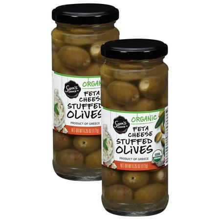 (2 Pack) Sam's Choice Organic Feta Cheese Stuffed Olives, 6.25 oz (Feta Cheese Olives)