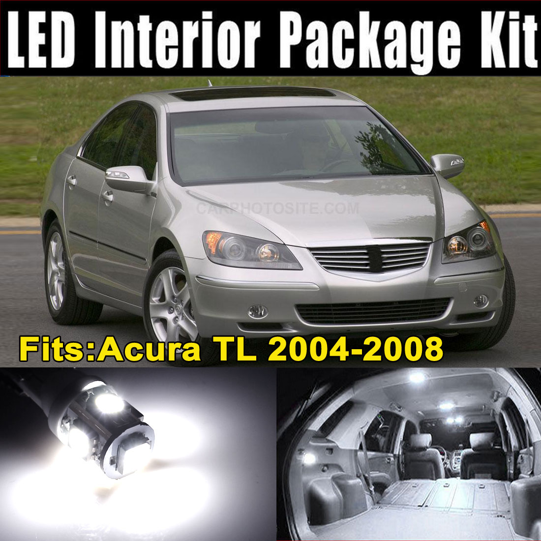 11Pcs White LED Lights Interior Dome Map Lamp Kit for Acura TL 2004-2008 (10xT10-5-5050+1x31MM-12-3528)