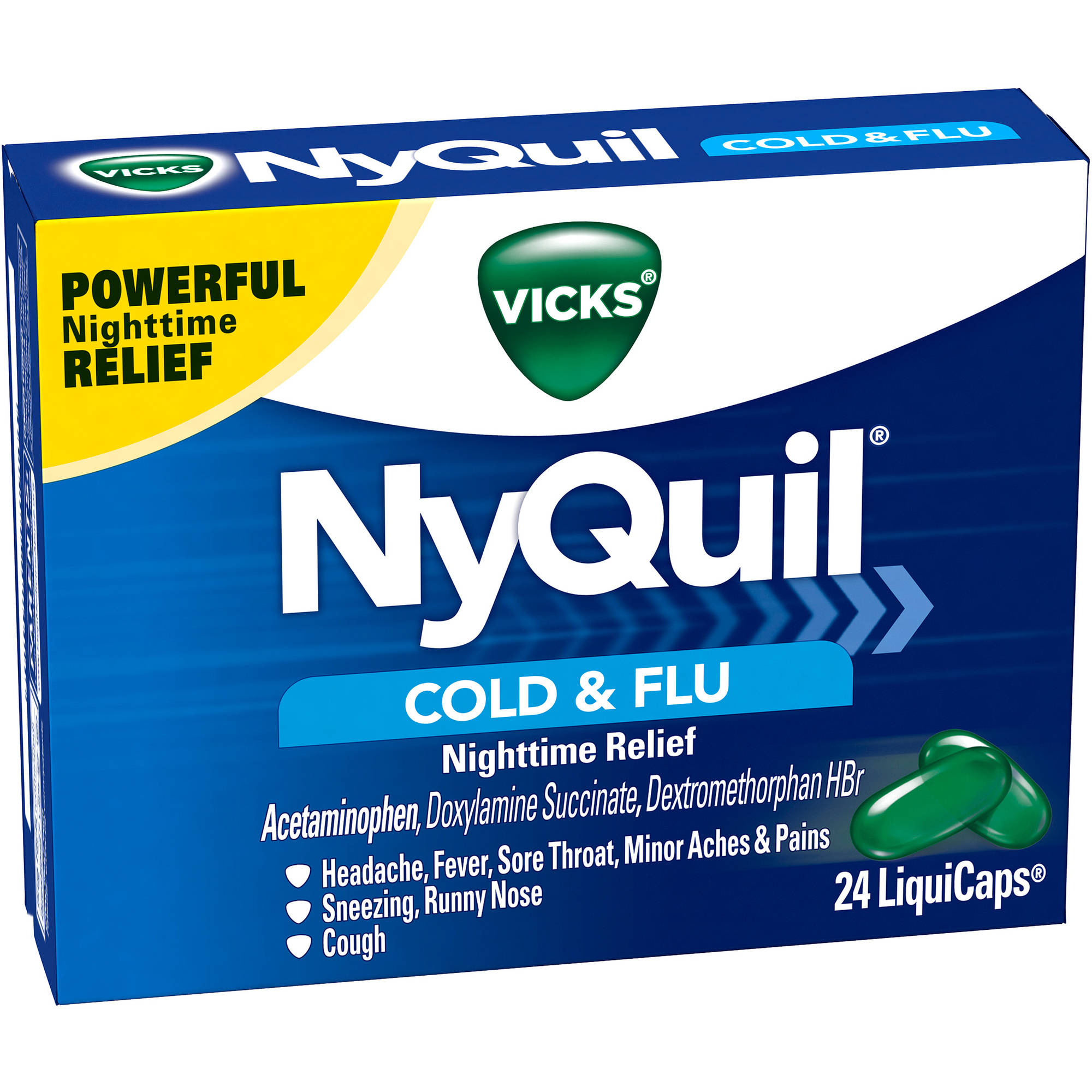 Vicks NyQuil Cold & Flu Nighttime Relief LiquiCaps, 24 count
