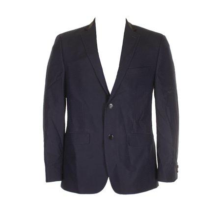 Alfani Mens Navy Blue Black Printed Slim-Fit  Single Breasted Blazer (Alfani Single)