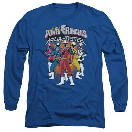 Power Rangers Team Lineup Mens Long Sleeve Shirt - Power Ranger Suits