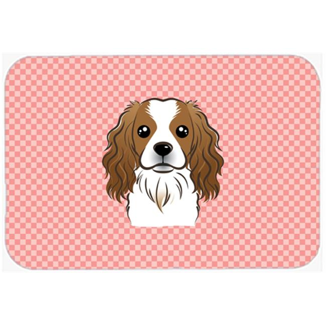 Checkerboard Blue Cavalier Spaniel Mouse Pad, Hot Pad Or Trivet, 7.75 x 9.25 In.