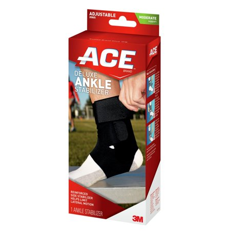 ACE Brand Deluxe Ankle Stabilizer, Adjustable, Black, 1/Pack