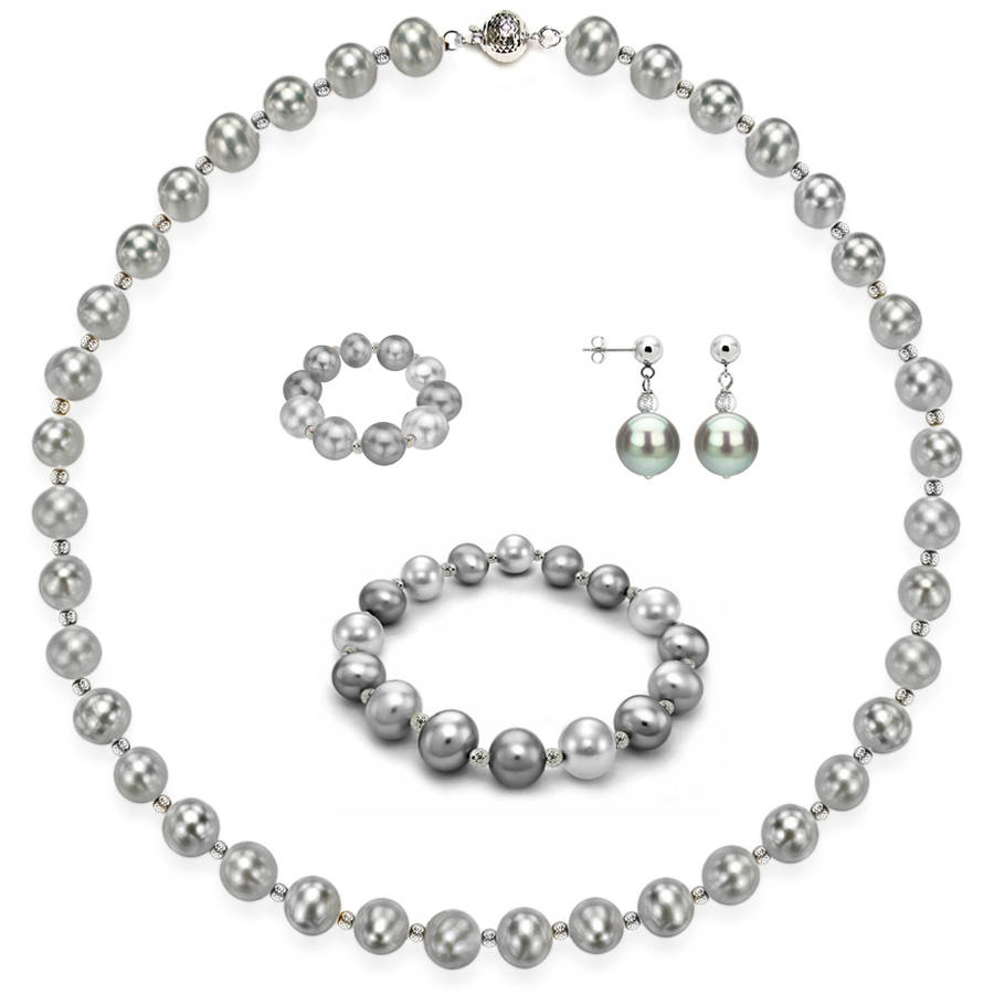 """Image of 4-Piece Set with 9mm x 10mm Grey Freshwater Pearl Necklace Sterling Silver Chain 18"""" with Ball Clasp, Stretch Bracelet, Earring, & Stretch Ring, Silver Beaded"""