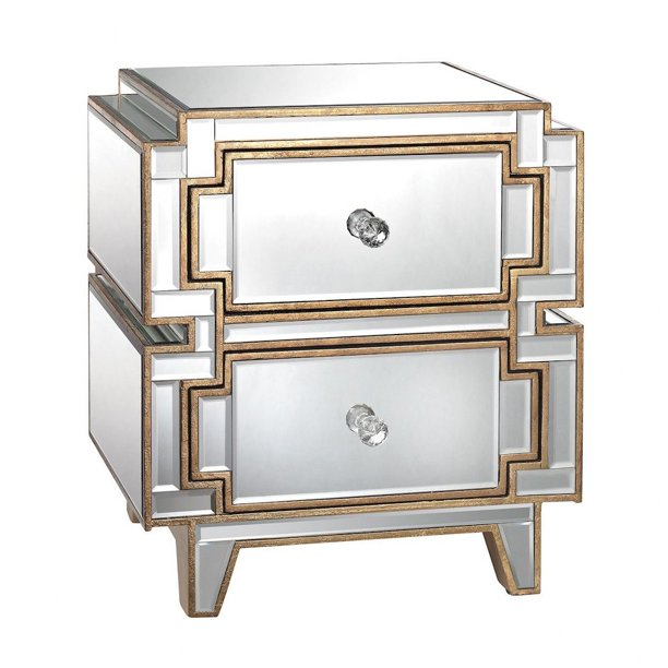 Modern Beveled Glass Mirrored Panel 2 Drawer Side Chest in Clear, Gold Finish - Made of MDF, Mirror