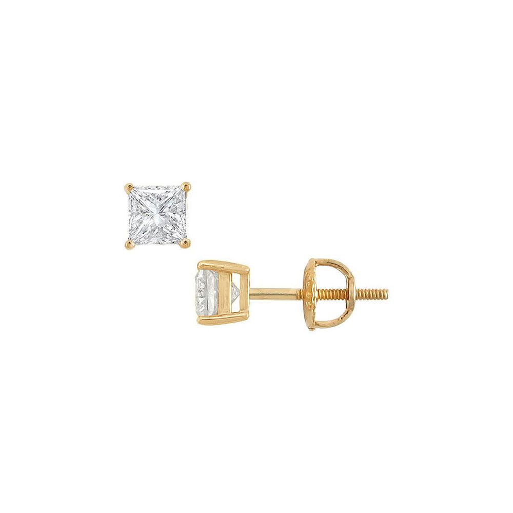 14K Yellow Gold Princess Cut Diamond Stud Earrings 0.75 CT. TW. - image 2 of 2