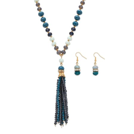 Blue and Grey 14k Yellow Gold-Plated Beaded 2-Piece Necklace and Earrings Set 24