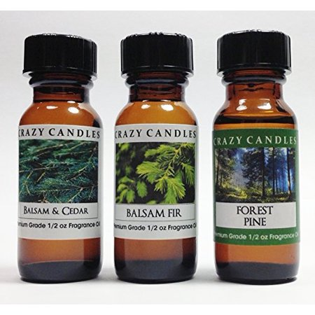 3 Bottles Set 1 Balsam & Cedar, 1 Balsam Fir, 1 Forest Pine 1/2 Fl Oz Each (15ml) Premium Grade Scented Fragrance Oils By Crazy Candles ()