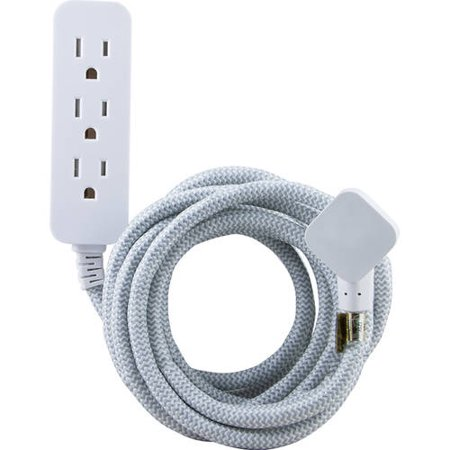 GE 3-Outlet Surge Protector with 8 Ft. Braided Extension Cord, Gray and
