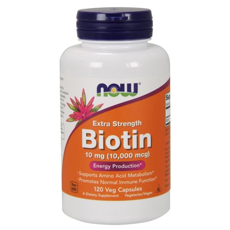 NOW Supplements, Biotin 10 mg (10,000 mcg), 120 Veg (Twinlab Biotin 100 Capsules)