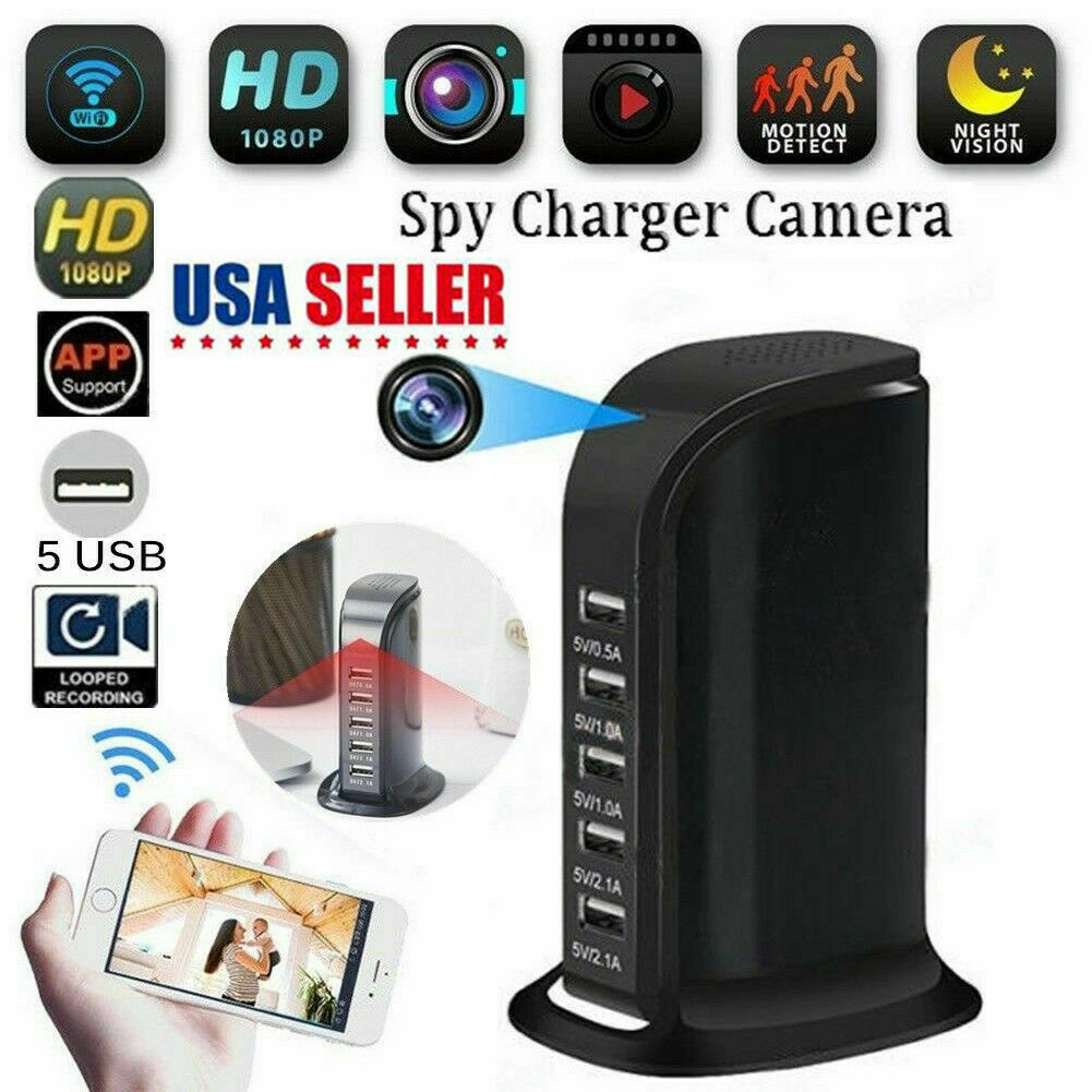 WIFI Power Socket HD 1080P Spy Camera Video Recorder 5 USB Outlet US//EU Plug