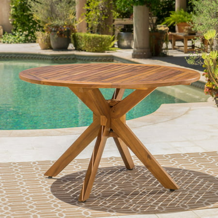 Stamford Outdoor Wood Round Dining Table ()