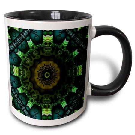 3dRose Mandala 28 zen InnerBalance green harmony chakra meditation InnerPeace, Two Tone Black Mug,