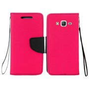 Premium Leather Flip Case Folio Wallet Cover with ID Credit Card Slot for Samsung GALAXY Grand Prime G530, Samsung GALAXY Go Prime G530 - Hot Pink