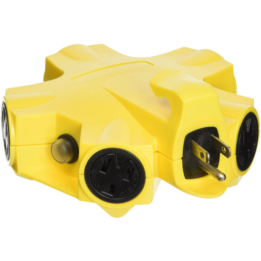 Yellow Jacket 827362 Outdoor 15-Amp Outlet Adapter Converter, 5-Outlet, Yellow