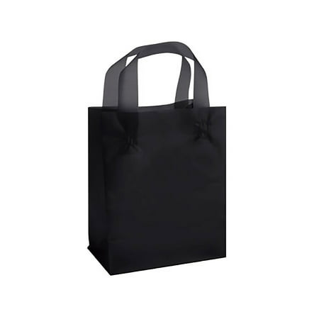 Medium Black Frosted Plastic Gift Bags - Case of 25 - Black Gift Bags