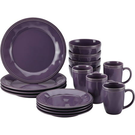 Rachael Ray Cucina Dinnerware 16-Piece Stoneware Dinnerware Set, Lavender (Ray Set)
