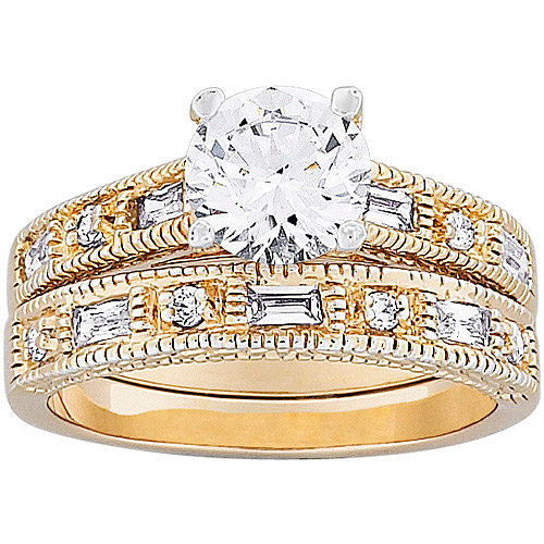 3 Carat T.G.W Round CZ Bridal Set in 14kt Gold-Plated