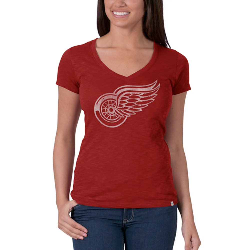 Detroit Red Wings Logo Scrum Juniors Premium V-Neck T-Shirt by
