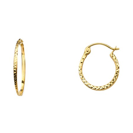 Womens Solid 14K Yellow Gold 1.5mm Square Tube Diamond Cut Hoop Earrings