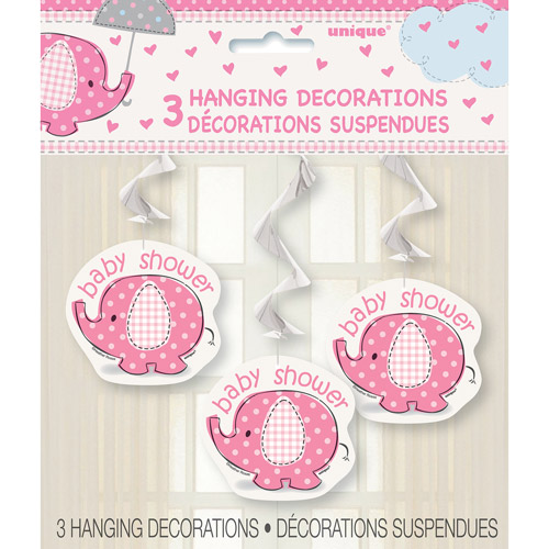 Pink Elephant Baby Shower Hanging Decorations, 3pk