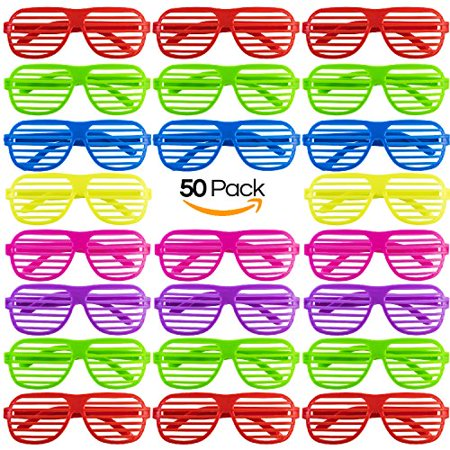 Mega Pack 50 Pairs of Plastic Shutter Shades Glasses Shades Sunglasses Eyewear Party Favors and Party Props Assorted Colors - 50 Party Ideas