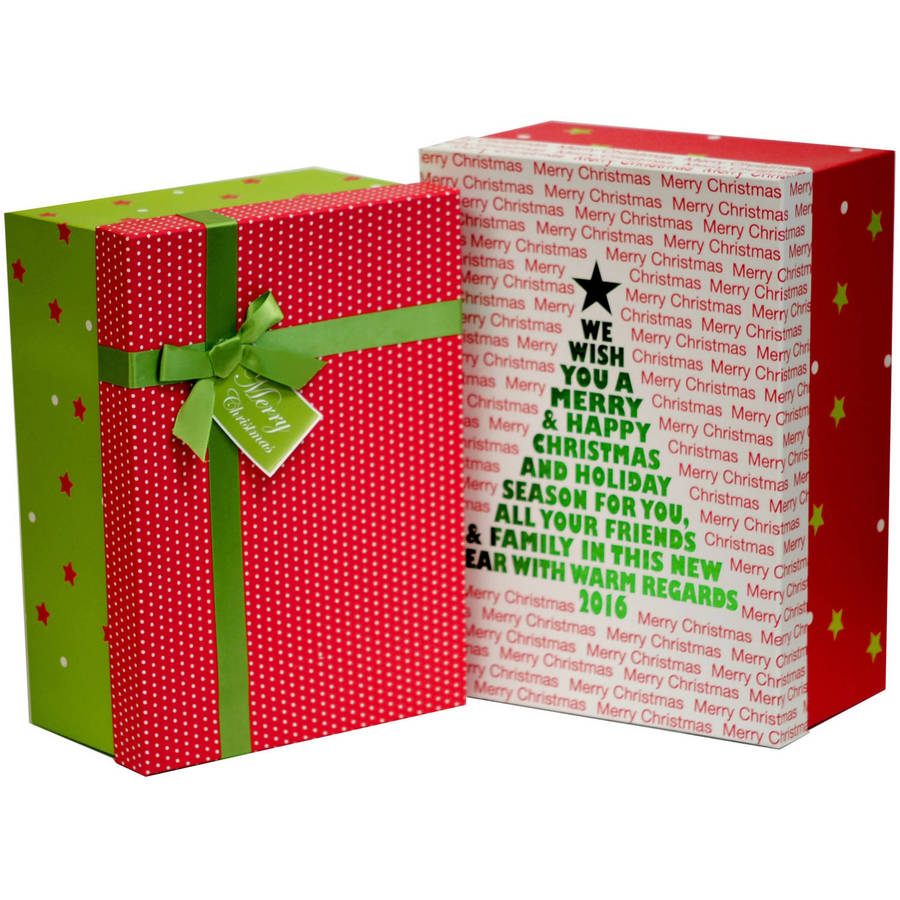 Holiday Time 2-Pack Large Rectangle Tree Box Set, Red and Green