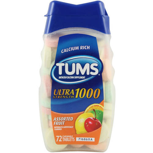 Tums Ultra 1000 Antacid/Calcium Chewable Tablets - Assorted Fruit, 72 CT (Pack of 6)