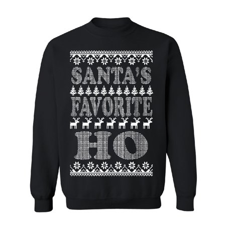 Santa's Favorite HO! Funny Unisex Crewneck Ugly Sweater Xmas 2017 Sweater Black Small (Ugly Christmas Sweater Girls)