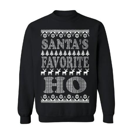 Santa's Favorite HO! Funny Unisex Crewneck Ugly Sweater Xmas 2017 Sweater Black Small - Ugly Christmas Sweaters Ideas