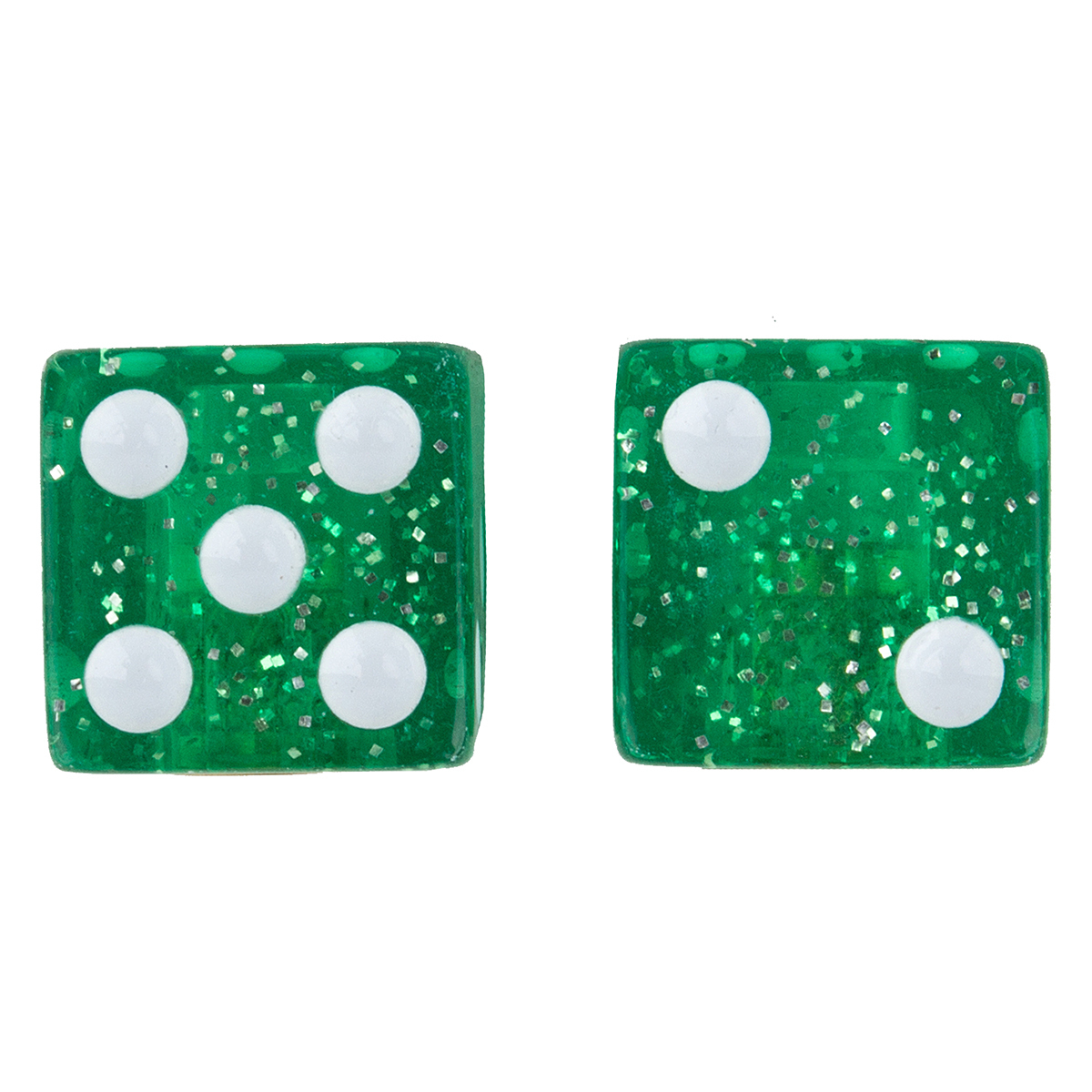 VALVE CAPS TRICK TOP DICE-GLITTER GREEN