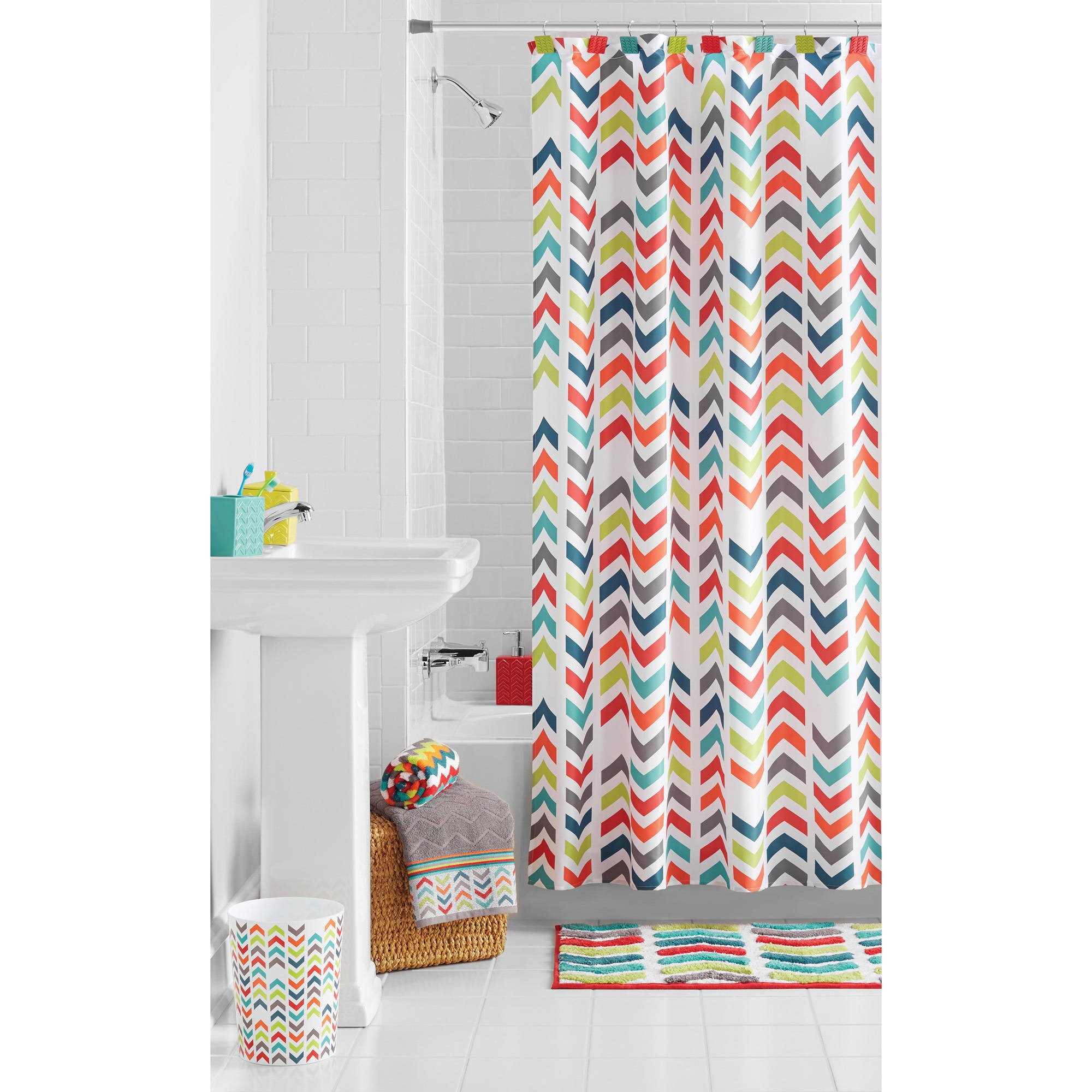 Mainstays Multi Chevron Shower Curtain Walmartcom