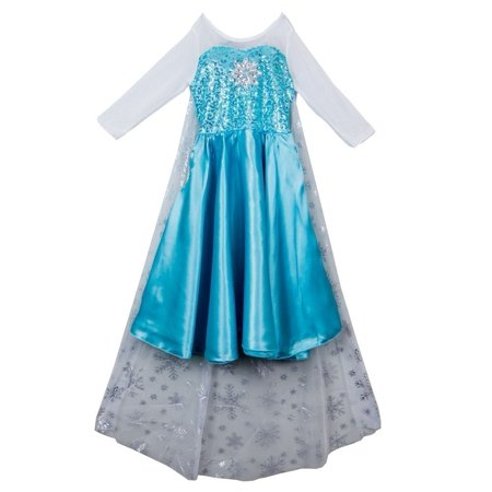 Wenchoice Girls Blue White Elsa Cape Dress Halloween Costume