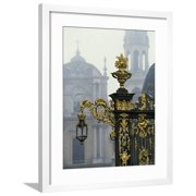 Gilded Wrought Iron Work and Lamp by Lamor in the Place Stanislas in Nancy, Lorraine, France Framed Print Wall Art By Woolfitt Adam