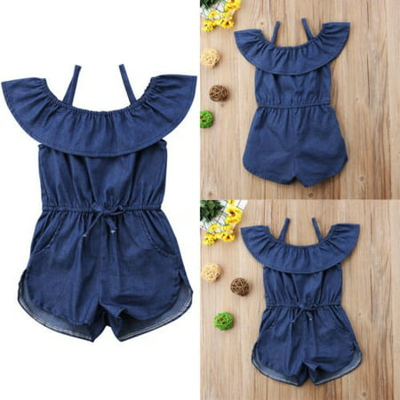 Hot Toddler Baby Kids Girls Denim Blue Strap Romper Jumpsuit Playsuit Clothes (Blue Plaid Romper)